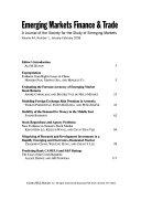 Emerging Markets Finance   Trade Book