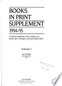[Books in print / Supplement ] ; Books in print : BIP ; an author-title-series index. Supplement