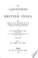 The Land Systems of British India: book 1. General. book 2. Bengal