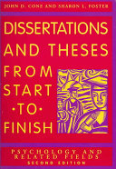 Dissertations and Theses from Start to Finish