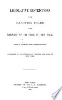 Legislative Restrictions on the Carrying Trade of the Railways of the State of New York