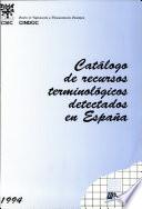 Catalogo de Recursos Terminologicos Detectados en Espana