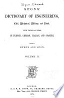 Spon s Dictionary of Engineering  Civil  Mechanical  Military  and Naval  Da Ir Book
