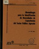 metodologia para la identificacion de necesidades de capacitacion del sctor publico agricola