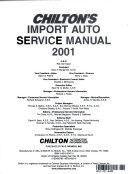 Chilton's Import Auto Service Manual
