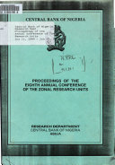 Proceedings of the     Annual Conference of Zonal Research Units Book