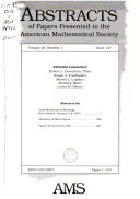 Abstracts of Papers Presented to the American Mathematical Society Book