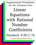 CCSS 8.EE.C.7b Linear Equations with Rational Number Coefficients