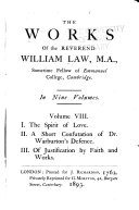 I  The spirit of love   8 II  A short confutation of Dr  Warburton s defence   8 III  Of justification by faith and works