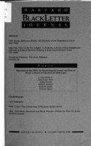 The Harvard Blackletter Journal Book