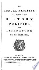 The Annual Register Or A View Of The History Politics And Literature For The Year