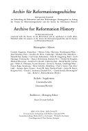 Archiv F  r Reformationsgeschichte