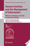 Human Interface and the Management of Information  Methods  Techniques and Tools in Information Design Book