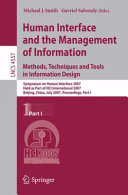 Human Interface and the Management of Information. Methods, Techniques and Tools in Information Design