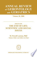 Annual Review Of Gerontology And Geriatrics Volume 20 2000