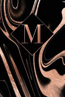 M Letter M Journal Rose Gold Swirls On Black Personalized Notebook Monogram Initial 6 X 9