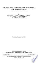 Quality Evaluation Studies of Foreign and Domestic Rices