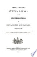 Annual Report of the Registrar General of Births  Deaths  and Marriages in England Book