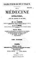 De la médecine opératoire