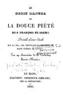 Le petit manuel de la douce piété de St François de Sales