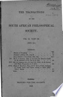Transactions of the South African Philosophical Society