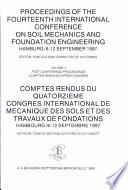 Comptes rendus du quatorzième conférence internationale de Mécanique des sols et des travaux de fondation, Hambourg, 6-12 septembre 1997