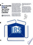Reproducible Federal Tax Forms for Use in Libraries Book