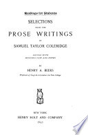 Selections from the Prose Writings of Samuel Taylor Coleridge