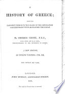 History of Greece. ... (With portrait, maps and index.) Fourth edition
