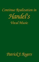 Continuo Realization in Handel s Vocal Music