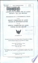 Legislative Agenda for an Aging Society  1988 and Beyond