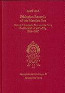 Ethiopian records of the Menilek era