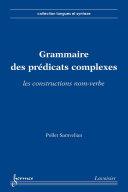 Pdf Grammaire des prédicats complexes : les constructions nom-verbe (Collection langues et syntaxe) Telecharger