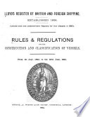 Rules   Regulations for the Construction and Classification of Vessels