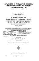Departments of State  Justice  Commerce  the Judiciary  and Related Agencies Appropriations for 1967