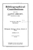 Bibliographical Contributions From The Lloyd Library Cincinnati Ohio