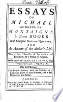 Essays of Michael Seigneur de Montaigne