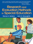 Research and Evaluation Methods in Special Education Book