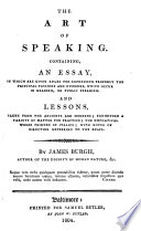 the art of speaking containing an essay in which are given the art of speaking
