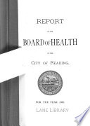 Report Of The Board Of Health Of The City Of Reading 1888