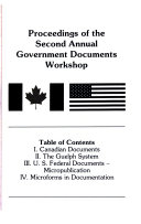 Proceedings Of The Second Annual Government Documents Workshop June 19 20 1975 Held At University Of Guelph Guelph Ontario Canada