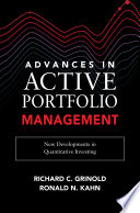Advances in Active Portfolio Management  New Developments in Quantitative Investing