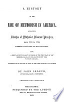A History of the Rise of Methodism in America Book