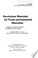 Curriculum Materials for Trade and Industrial Education