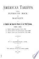 American Tariffs from Plymouth Rock to McKinley Book