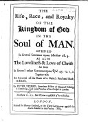 The Rise, Race, and Royalty of the Kingdom of God in the Soul of Man