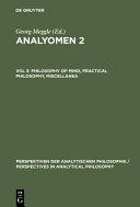Analyōmen 2: Logic, epistemology, philosophy of science