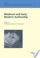 Medieval And Early Modern Authorship