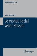 Pdf Le monde social selon Husserl Telecharger