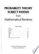 Probability Theory Subject Indexes from Mathematical Reviews